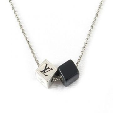 Top Sale Louis Vuitton Collier Double Silver & Black Dice Gambling Pendants LV& Monogram Pattern Long Necklace For Men