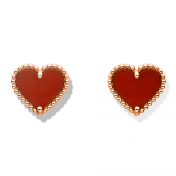 Van Cleef & Arpels Sweet Alhambra Heart Earrings Rose Gold-plated Bead Side Red Motif Online India Girls VCARN6BP00