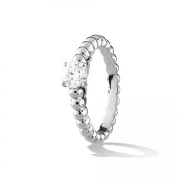 Van Cleef & Arpels Perlee Slitaire Silver Ring Bead Style Decorated One Crystal Engagement Gift For Women VCARO1VD00