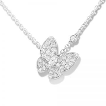 VCA Fauna Two Butterfly Paved Crystals Pendant Silver Chain Necklace Sale Sydney Women Wedding Gift VCARO3M400