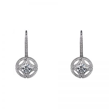 Galanterie De Cartier Women Round Hollow-Out Drop Earrings Pendant Paved Crystals Luxury 2018 Price US N8515038