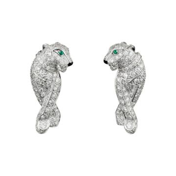 2020 Most Fashion Cartier Panthère de Cartier Emeralds Eyes Paved Diamonds Ladies Hoop Earrings Online Replica