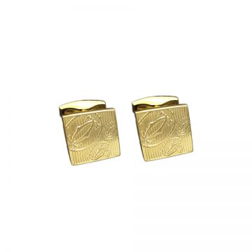 Cartier Double C Logo Square Gold-plated Cufflinks Men Celebrity Style For Sale