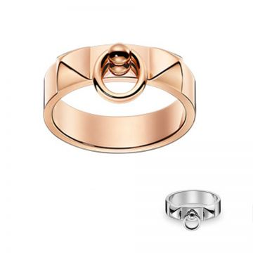 Hermes Collier De Chien Silver/Rose Gold Circle Pendant Ring Dua Lipa Style Women/Men Sale H108118B 00046/H115607B 00046