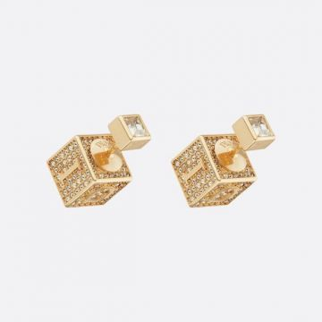 2021 Pre-fall New Style Christian Dior Tribales Logo Pattern Yellow Gold Square Cube Diamonds Stud Earrings Popular Jewellery