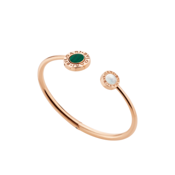 Hot Selling Bvlgari Bvlgari 18 Kt Rose Gold Onyx & Malachite Element Fashion Flip Bracelet For Ladies BR858422