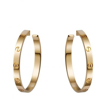 2021 Hot Selling Cartier Love Big Circle Female Yellow Gold Pierced Earrings B8028200 Replica