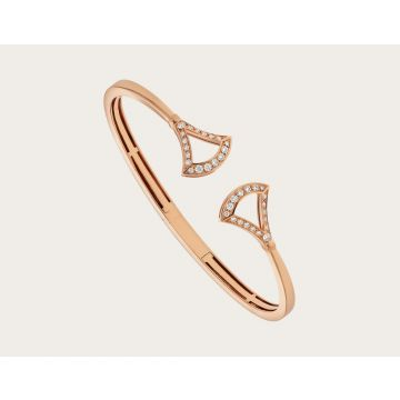 Top Sale Bvlgari Divas' Dream Openwork Fan-shaped Ladies Diamonds Bangle Rose Gold/Silver BR858387/BR858388
