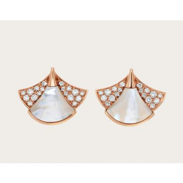 Fashion Women's Bvlgari Divas' Dream White MOP Patchwork Fan-shaped Diamonds Earrings Silver/Rose Gold 350483 OR857103