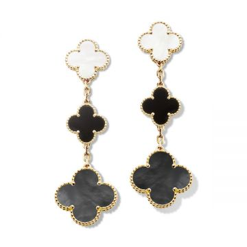 2021 Spring Fashion VCA Magic Alhambra Three Clovers Pendant Women Yellow Gold-plated Drop Earrings Black/White/Two-tone VCARD79000