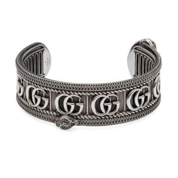 Gucci Snake Design Double G Motif Three-dimensional Striped Trimming Antique 925 Sterling Silver Cuff Bracelet Men Jewelery