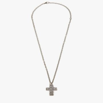 Retro Style Gucci Square Double G Cross Pendant Engraved Pattern Aged Silver Thick Link Necklace For Lovers Online