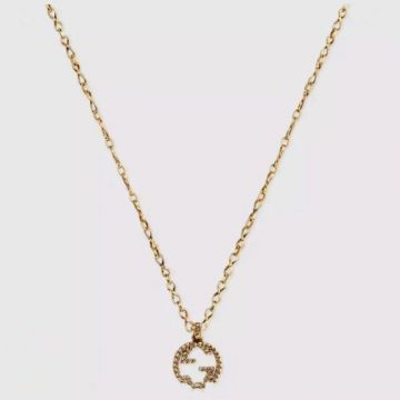 Unisex Winter & Autumn Gucci Interlocking G Double G Pendant Engraved Pattern Brass Necklace For Lovers Online