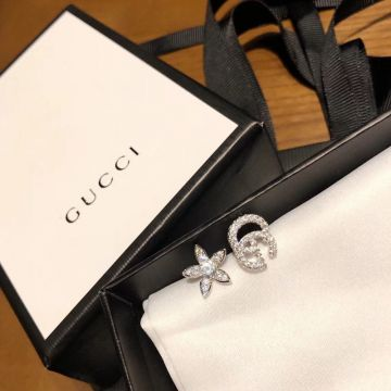 Replica 2021 Most Luxury Gucci Double G Floral Female Paved Diamonds Asymmetry 925 Sterling Silver Stud Earrings US Price