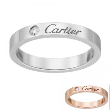 C De Cartier White/Pink Gold-plated Narrow Ring Studded Crystal Logo Sale Online Dubai Review Women B4086400/B4051300