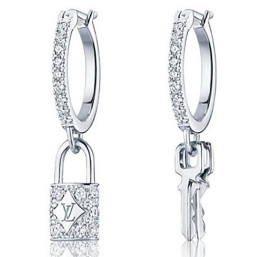 Classic Style Louis Vuitton Lockit Women Asymmetric Lock & Key Pendant Logo Pattern White Gold Paved Diamonds Hoop Earrings