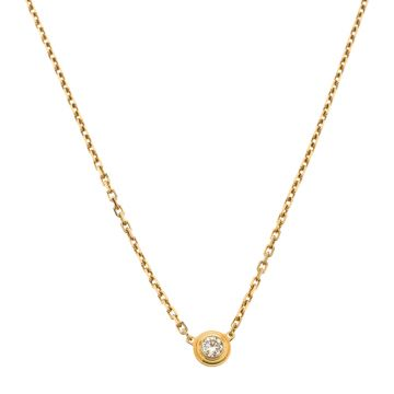 Elegant Style Cartier Diamants Légers Round Single Diamond Pendant Logo Tag Women Necklace Silver/Yellow Gold/Rose Gold