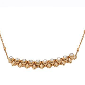 New Style Cartier Clash De Cartier Diamonds Necklace For Ladies Rose Gold/ Yellow Gold N7424312 Replica