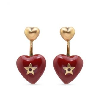 Best Price Dior Dioramour Red Enamel Heart-shaped Pendant Star Detail Women Antique Brass Earrings Fashion Jewellery