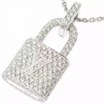 Louis Vuitton Lockit Luxury Paved Diamonds Padlock Pendant Logo Pattern Sterling Silver Jewellery Set For Ladies Necklace/Earrings