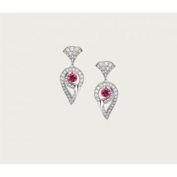 Celebrity Style Bvlgari Divas' Dream Peacock Head Pendant Ladies Red Crystal Silver Earrings Malaysia Price 354082 OR858089