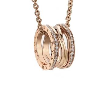 Bvlgari B.Zero1 Popular Logo Pattern Spiral Take Diamonds Pendant Womens Copy Necklace Rose Gold /Silver354195 CL858126