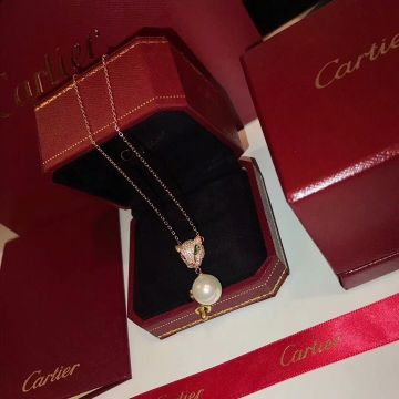 Latest Style Cartier Panthere De Cartier Green Emerald Pearl Pendant Ladies Rose Gold Diamonds Necklace Replica