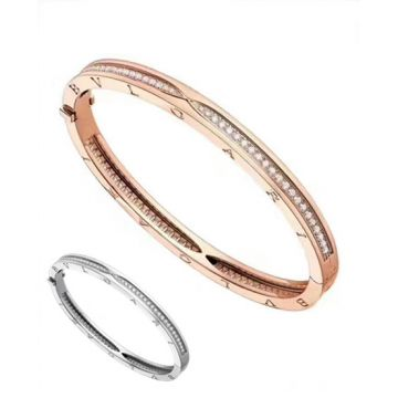 Bvlgari B.Zero1 Classic Spiral Pave Diamonds Logo Curved Ladies Oval Bangle Silver/ Rose Gold Bracelet BR857483/BR857372