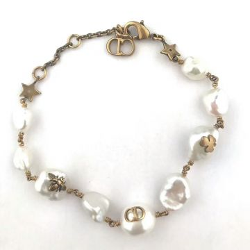 Summer Popular Dior Tribale Native Retro Brass Bee/CD/Clover Charm Atypical Pearl Bracelet For Womens