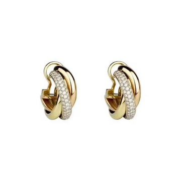 Imitation Cartier Trinity De Cartier Yellow Gold & Rose Gold Intersect Ring Style Diamonds Earrings For Womens B8031900