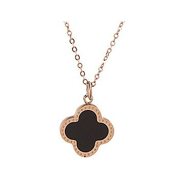 VCA Fake Vintage Alhambra Black Enamel Clover Charm Rose Gold-plated Chain Necklace Price In France