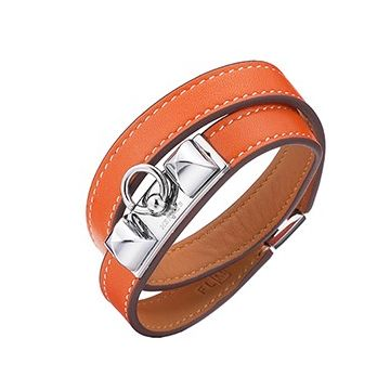 Hermes Rivale Double Tour Silver Plated Hardware Orange Leather Pyramid Bracelet Unisex Australia