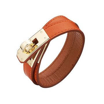 Hermes Replica Kelly Double Tour Orange Leather Bracelet Gold-Plated Hardware New Fashion Women & Men Price List