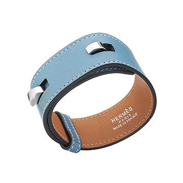 Hermes Fake Silver Plated Hook Clasp Latest Design Light Blue Leather Bracelet On Sale