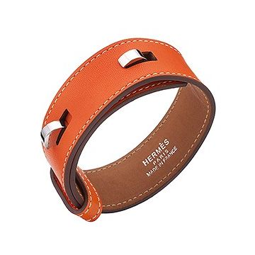 Hermes Women's Silver-Plated Hook Clasp Orange Leather Bracelet Newest Design Price Australia