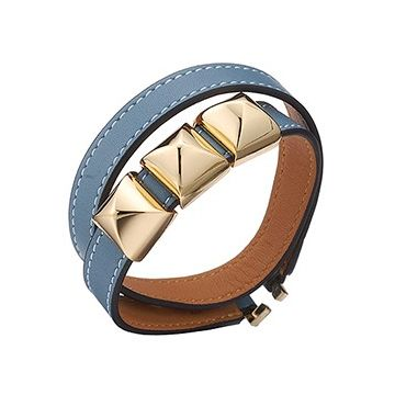 Hermes Double Wrap Slim Light Blue Leather Bracelet Yellow Gold Plated Pyramid Trim Clone
