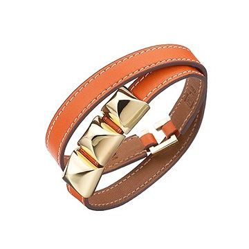 Hermes Gold-Plated Pyramid Stud Two Wrap Narrow Orange Leather Bracelet Valentine Gift Unisex Sale