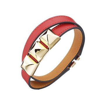 Knockoff Hermes Double Wrap Strap Red Leather Bracelet Gold Plated Pyramid Hardware Price Australia
