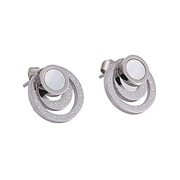 Bvlgari Phony Bvlgari Circle Silver Earrings With Round Pearl Adornment Romantic Style Price Canada Women