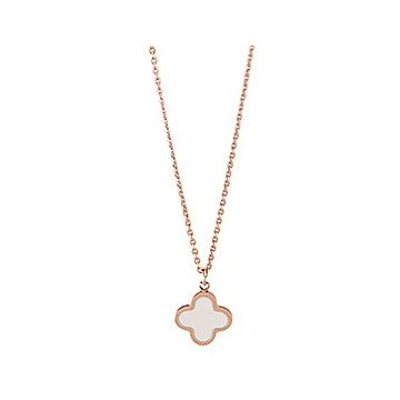 Van Cleef & Arpels Magic Alhambra Clover Charm Encrusted White Pearl Rose Gold-plated Chain Necklace Women UK