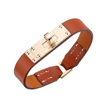 Low Price Hermes Micro Kelly Gold-Plated Rotatable Buckle Tan Leather Lady Bracelet Replica Australia