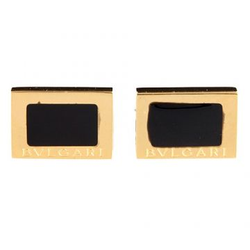 Bvlgari Quadrato Rectangle Yellow Gold Color Men Cufflinks Black Onyx Studded Logo Suit India Price