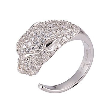 Panthere De Cartier Silver-plated Diamonds Ring Leopard Shape Chic Tide Girls America Price