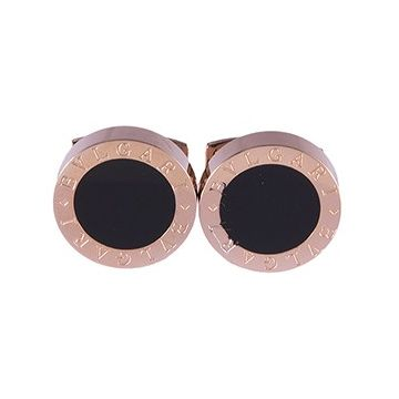 Bvlgari Replica Bvlgari Rose Gold-plated Black Enamel Cufflinks Party For Men Online Sale Canada