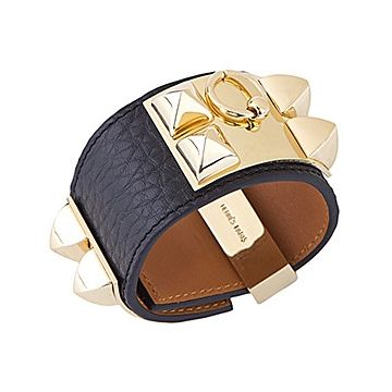 Hermes Collier De Chien Brass Stud Black Leather Wide Bracelet Unisex Style US H068440CC89L