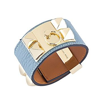 Hermes Replica Collier De Chien Light Blue Leather Bracelet Brass Stud Women Celebrity Style Australia