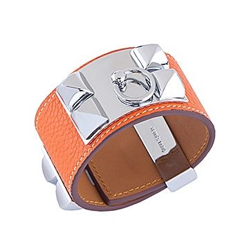 Hermes Women's Collier De Chien Silver Plated Hardware Orange Leather Wide Bracelet UK H066129CK8VL