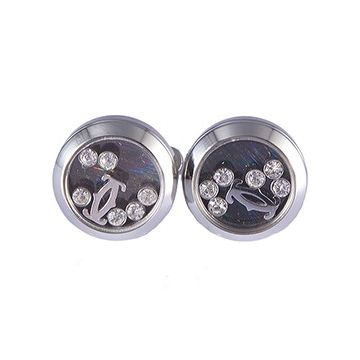 Cartier Silver Round Double C Logo Cufflinks Pearl Imitation Business Style NYC For Men Price
