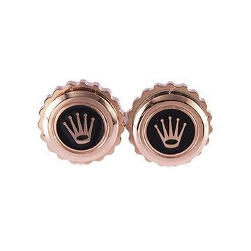 Rolex Round Rose Gold-plated Men Cufflinks With Black Enamel Crown Logo Business Style Sale UK