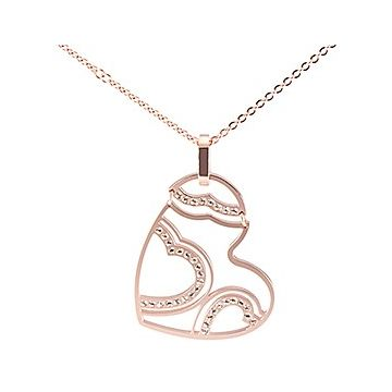 Cartier Luxurious Women Hollow-out Heart Crystals Charm Cutwork Necklace Rose Gold-plated Fashion Party Sale Malaysia